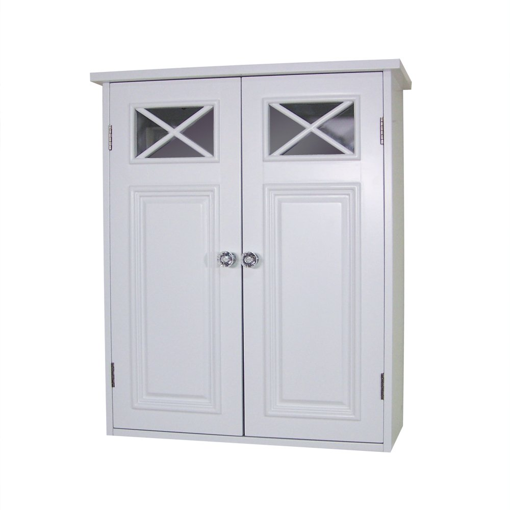 Bathroom wall cabinet white - Amazon Com Elegant Home Fashions Dawson Collection Shelved Wall Cabinet White Kitchen Dining