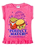 Shopkins Girls' Tee Shirt Perfect Match! W/Ruffle Hem Pink Size 4