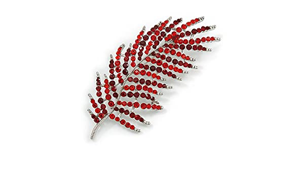 Avalaya Stunning Large Red/Burgundy Crystal Leaf Brooch In Silver Tone - 90mm