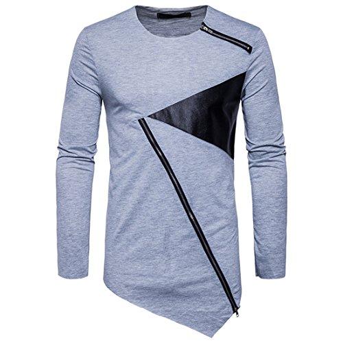 GRMO Men's Long Sleeve Oblique Zipper Irregular Hem Tee Hip Hop T-shirts light Grey US XS by GRMO-Men