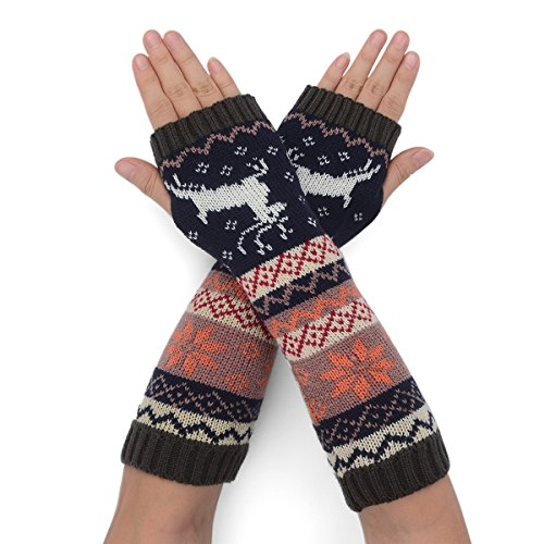 Flammi Women's Knit Arm Warmers Deer Jaquard Fingerless Gloves Thumb Hole Gloves Mittens