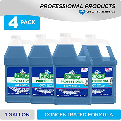 Colgate Cleaner Palmolive (PALMOLIVE OXY Power Degreaser for Pots and Pans, Concentrated Formula, Dishwashing Liquid, Dish Liquid Soap, Dish Soap, Phosphate Free, Dishwasher Cleaner, 1 Gallon Bottle (Pack of 4) (240043))
