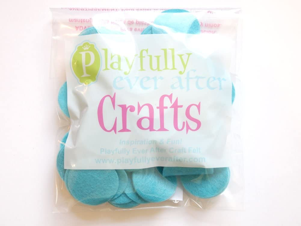 Playfully Ever After Turquoise Blue Craft Felt Circles Mixed Size Pack - 56pc