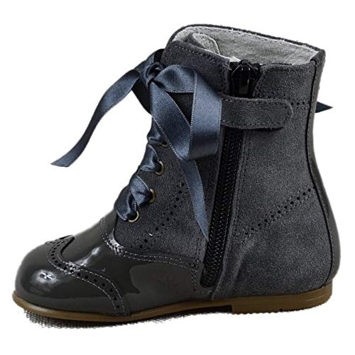 Bota Pascuala Niña combinada en Piel Charol Gris y Lazo Lateral 4400 (25 EU): Amazon.es: Zapatos y complementos