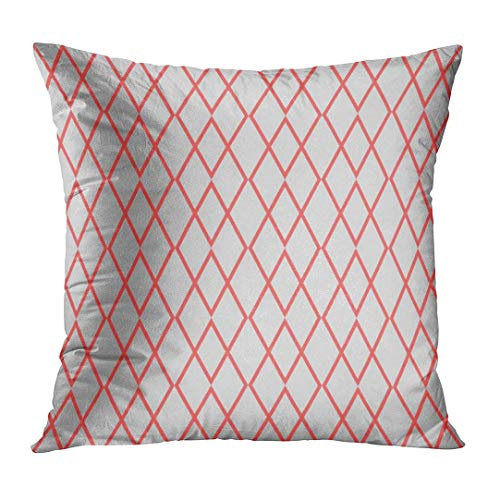 Jbralid Orange Diamond Pink and Grey Pattern Red Lozenge Rhombus Abstract Argyle Circus Pillow Cover Hidden Zipper Cotton Indoor Throw Pillow Case Cushion 24x24 in