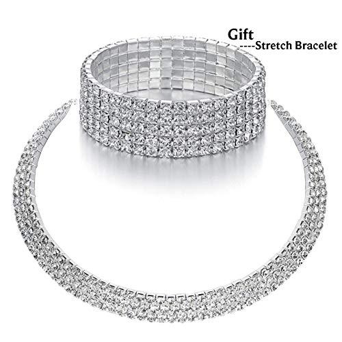 SL SweetLove 3 Rows White Rhinestone Choker Adjustable Necklace Dance Wedding Prom Party Jewelry for Women Girls