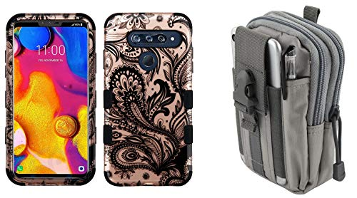 2d Standard Flashlight - Bemz Accessory Bundle Designed for LG V40 ThinQ - TUFF Hybrid Case (2D Rose Gold Paisley Vines) with Tactical Utility Pack (Gray) and Atom Cloth for LG V40 ThinQ