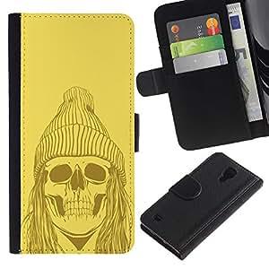 SAMSUNG Galaxy S4 IV / i9500 / SGH-i337 , la tarjeta de Crédito Slots PU Funda de cuero Monedero caso cubierta de piel ( Skull Zombie Dead Man Face Ghost Art Drawing)