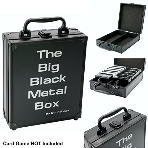 Cards Against Humanity Case | Cards Sold Separately | The Big Black Metal Box by Soundbass | Fits Main Game + 6 x Original Expansions | Includes 8 Dividers | Fits up to 1550 Loose Unsleeved Cards