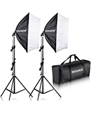 Neewer 600W Pro Foto Softbox Luz Kit de Iluminación - 3 Packs 60x60 Centímetros Softbox con 85W Fluorescente Bombilla para Foto Estudio Retratos, Producto y Video Disparos
