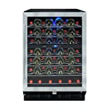 Vinotemp 58-Bottle Wine Cooler with Interior Display, Stainless/Black