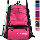 Athletico Baseball Bat Bag - Backpack for Baseball, T-Ball & Softball Equipment & Gear for Kids, Youth, and Adults   Holds Bat, Helmet, Glove, Shoes   Separate Shoe Compartment, Fence Hook