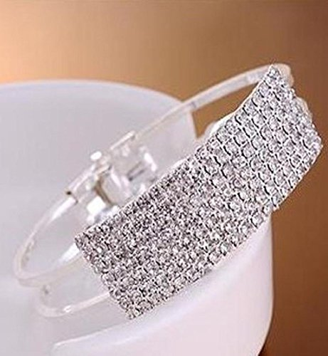 Franterd Women Bracelet Lady Elegant Bangle Wristband Crystal Cuff Bling (Genuine European Crystal)