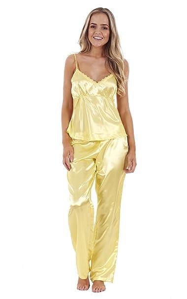 Conjunto de pijama de raso de 3 piezas para mujer camiseta encaje y pantalones cortos Amarillón