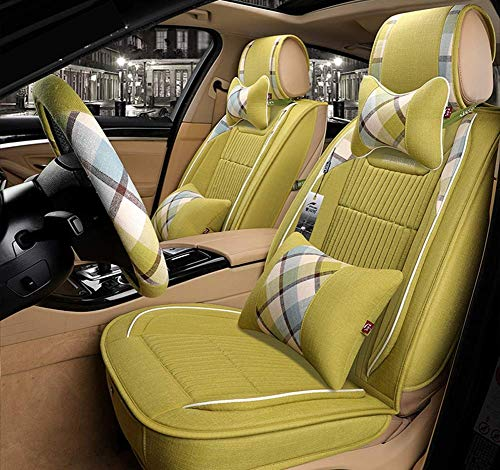 AYCYNI Easy To Clean Linen Car Seat Cushion 5 Seats Full Set - Non-Slip Suede Backing Universal Fit Seat Cover For Fabric And Leather Car Seats,Beige,Green: Kitchen & Home