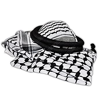 keffiyeh. amazon.com: authentic black \u0026 white middle eastern arab kafiya keffiyeh with aqel rope: clothing