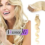 Remeehi 20pcs Remy Human Hair Skin Weft Tape in Extensions Multi Colors Body Wave Tape in Hair Extensions (Grey 18inch)