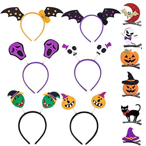 Pveath 12 Kid Halloween Hair Costumes, Hair Clips Headband for Dress Up Party Carnivals]()