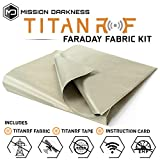 TitanRF Faraday Fabric // EMI & RFID Shielding/Cell, WiFi & Bluetooth Blocking/Military Grade Shielding Fabric (44'W x 36' L / 11sq ft / 1.22 sq yds) + Free 12' L Conductive Adhesive Tape
