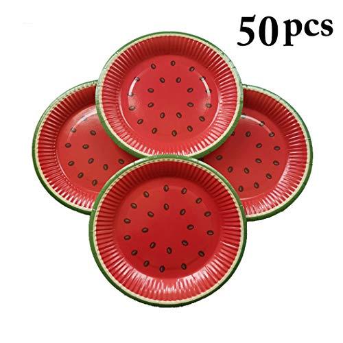 Coxeer 50PCS 7'' Paper Plate Watermelon Shape Disposable Plate Paper Dish for Party]()
