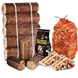 WINTER FIRE PIT CHIMINEA STARTER PACK Large Wood Heat Fuel Logs, 3kg Kindling + Eco FireLighters - Comes with THE LOG HUT Woven Sack.