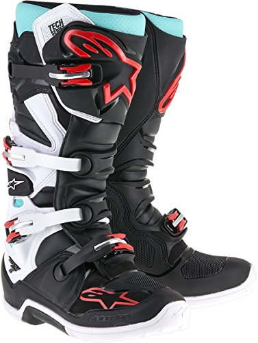 Alpinestars Tech 7 Mens Cyan/Black/Red Motocross Boots - 9