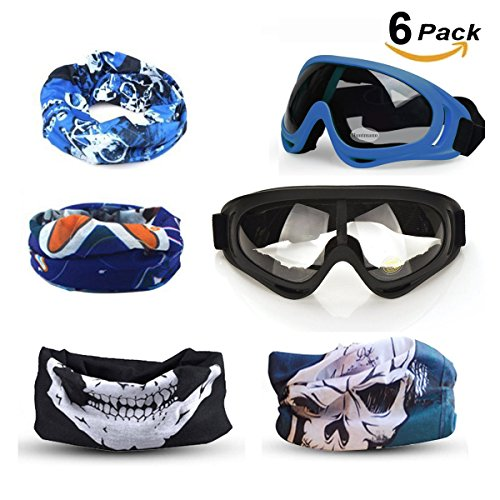 CloverTale Blaster Face Mask, Tactical Protective Glasses and Face Tube Mask for Nerf Guns N-Strike Elite Series, With 4 Pack Tube Mask and 2 Pack Protective - Mask Glasses