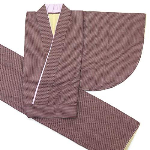 二部式着物 洗える着物 袷 単品 小紋柄の着物 Mサイズ「エンジ ストライプ」HANM1802