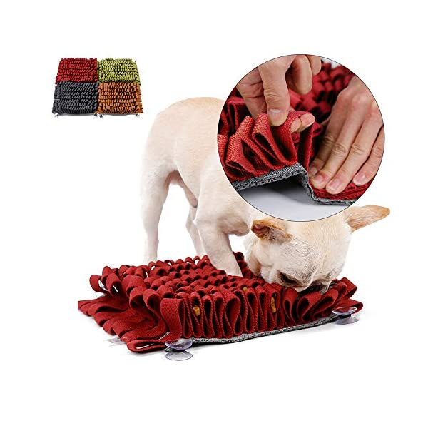 PETEMOO Dog Snuffle Mat, Dog Sniffing Pad Soft Pet Nose Work Smell Snuffle Mat Training Feeding Foraging Skill Blanket Dog Play Mats Puzzle Toys 29×29CM 1