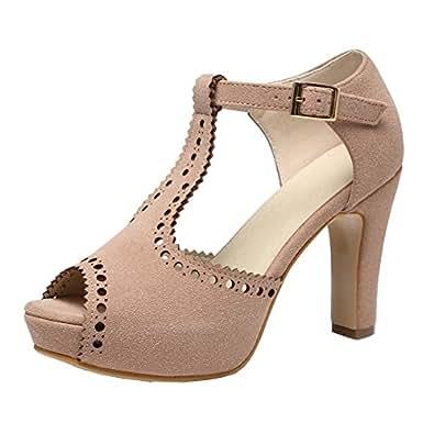 GETMOREBEAUTY Women's Vintage Suede Ankle T Straps Dress Block Heeled Sandals Shoes Beige Size: 5