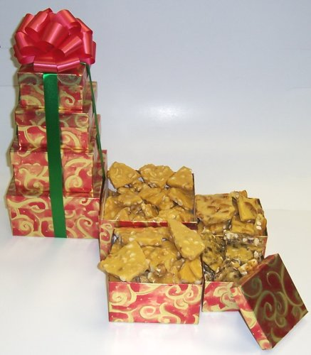 Scott's Cakes 4 Tier Red and Gold Swirl Box Brittle Mix by Scott's Cakes