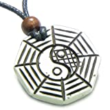 Amulet Tibetan Yin Yang BA GUA White Magic Doublesided Pendant Necklace