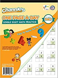 Channie\'s One Page A Day Single Digit Math Problem Workbook for Prek-1st 50 pages simply tear off one page a day for math repetition