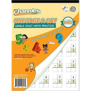 Channie's One Page A Day Single Digit Math Problem Workbook for Prek-1st 50 pages simply tear off one page a day for math repetition