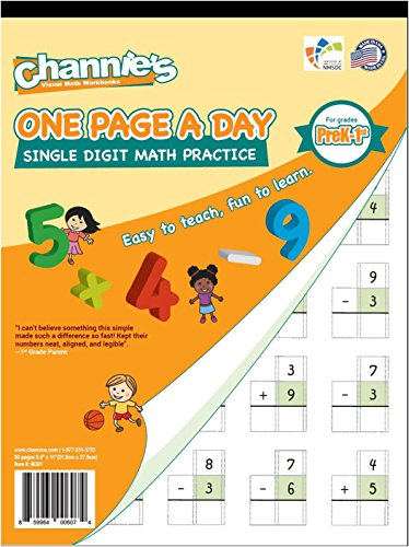 One Page A Day Single Digit Math Problem Workbook for Prek-1st 50 pages simply tear off one page a day for math repetition