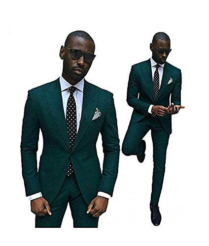 Green Slim Fit Wedding Suits for Men 2 Pieces Groom Tuxedos Business Men Suits