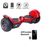 Cool&Fun Two Wheel Self Balance Scooter Off-Road Hoverboard Safety Certified UL 2272 Bluetooth Speakers 8.5 Inch All Terrain Road Condition (Red)