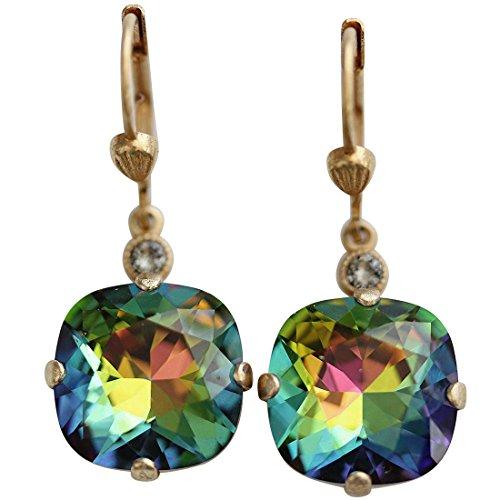 Heavy Earrings Round - Catherine Popesco Goldtone Crystal Round Earrings, Heavy Vitrail (Rainbow) 6556G