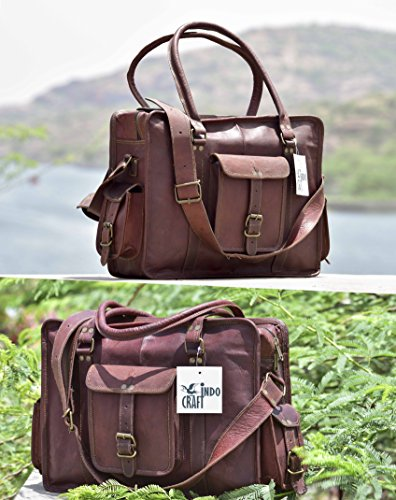 "Genuine Leather 16"" Laptop Vintage Style Office Messenger..."