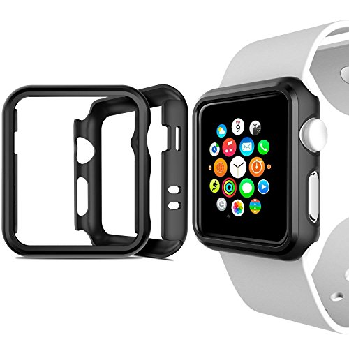 Apple Watch Case 42mm Series 3,Shockproof Rugged Polycarbonate Hard Protective Cover Apple Watch Bumper for 42mm Apple Watch Series 2/Series 3,2 Pack,Black