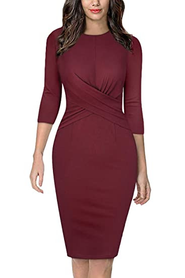 29c67958e94bd Moyabo Womens 3/4 Sleeve Round Neck Twist Front Business Casual Party Work  Pencil Dress