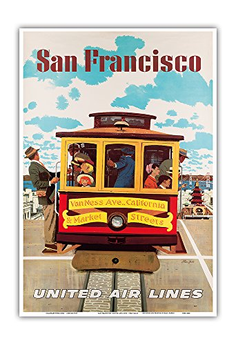 San Francisco - United Air Lines - Van Ness, California & S. Market Streets Cable Car - Vintage Airline Travel Poster by Stan Galli c.1957 - Master Art Print - 13in x 19in