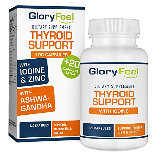 Thyroid Support Supplement with Iodine - Metabolism, Energy and Focus Formula - 60 Day Supply - Vegetarian & Non-GMO - Vitamin B12 Complex, Zinc, Selenium, Ashwagandha, Copper & More