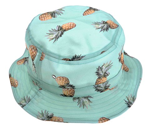 ZLYC Unisex Lovely Cute Funky Passion Fruit Print Fisherman Bucket Hat Outdoor Cap (Blue - Pineapple Print)