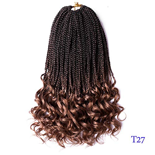 18 Inch Crochet Hair Box Braids Curly Ends Ombre Kanekalon Synthetic Hair for Braid 22 Strands Braiding Hair Extensions,T1B/27,14inches,3Packs