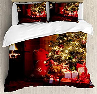 Standard Quilt coverNew Year Xmas Trees Duvet Cover SetDecorative 3 Piece Bedding Set with 2 Pillow Shams