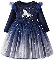 DXTON Little Girl Children Kids Tutu Party Wedding Birthday Dresses for 3-8 Years Girls