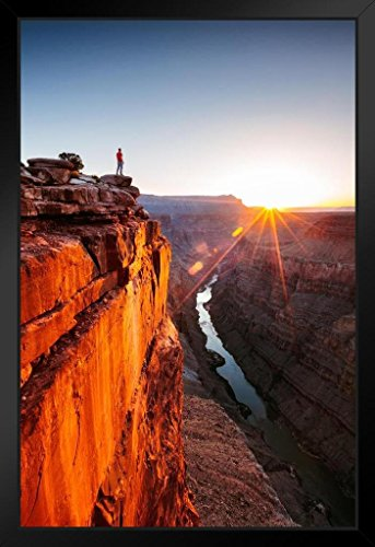 - Man Standing on The Edge of Grand Canyon Photo Art Print Framed Poster 14x20 inch