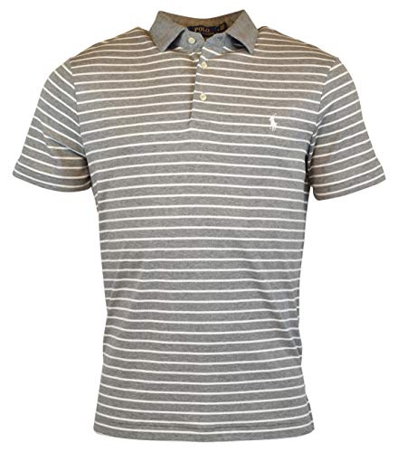 Polo Ralph Lauren Mens Pony Logo Striped Interlock Polo Shirt (L, Grey/White)