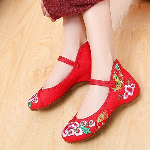 KHSKX-Herbst Alte Schuhe Schuhe Schuhe Schuhe Niedrige Folk - Dokumentarfilm Rote Dance Lässig Frauen Schuhe gules